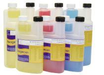 Сертифицирани pH буферни  разтвори при 25 С, цветни, в бутилки с двойно гърло, проследими до NIST